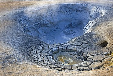 Mud pool in the Namafjall geothermal area at Lake Myvatn in Iceland, Europe