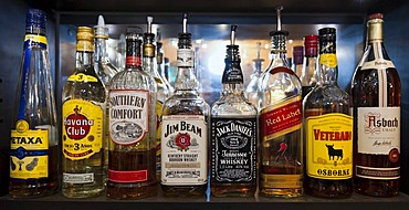 Bottles of various spirits standing on the shelf in a bar