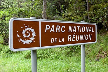 Sign Parc National de la Reunion national park, Cirque de Cilaos caldera, Reunion island, Indian Ocean