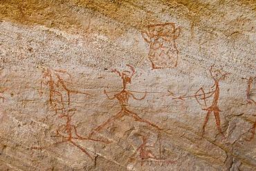 Prehistoric rock paintings, Akakus, Acacus Mountains or Tadrart Acacus, Sahara desert, Fezzan, Libya, North Africa
