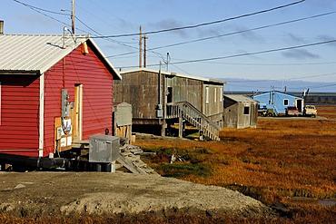 The small Inuit village of Kaktovik, North Slope, Beaufort Sea, Alaska, USA, America