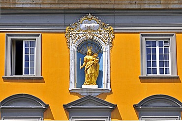 Madonna and Child above the entrance, Rheinische Friedrich-Wilhelms-Universitaet or University of Bonn, former electoral palace, Cologne, Bonn, North Rhine-Westphalia, Germany, Europe