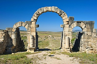 Archway, Tangier Gate, Roman ruins, ancient residential city of Volubilis, northern Morocco, Africa