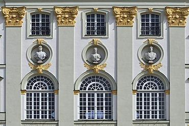 Schloss Nymphenburg Castle, detail of western facade, Munich, Bavaria, Germany, Europe