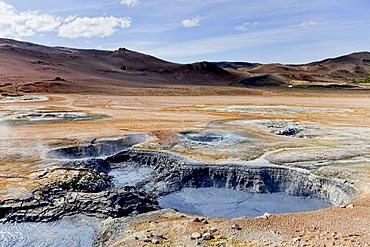 Mud lake on the solfatar field of Namanskard, Iceland, Europe