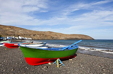 Colourful fishing boats at Playa Poza Negro, beach, Fuerteventura, Canary Islands, Spain, Europe