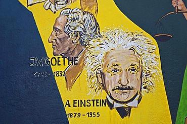 Goethe and Einstein, painting, mural, Berlin Wall, East Side Gallery, Berlin, Germany, Europe