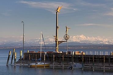 Magische Saeule, magic column, on the pier in Meersburg on Lake Constance with the Alpstein massif at back during foehn weather conditions, Baden-Wuerttemberg, Germany, Europe
