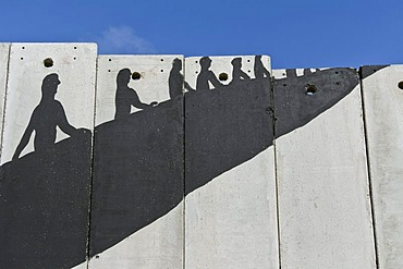 A banksy graffiti on the separation wall, Bethlehem, West Bank, Western Asia