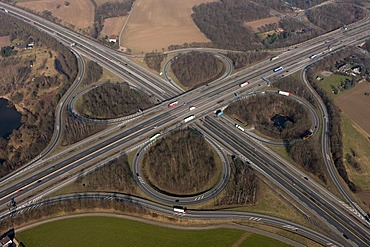 Aerial view, Autobahnkreuz Moers, A40 and A57 freeway intersection, Moers Exit 8, Moers, Lower Rhine, North Rhine-Westphalia, Germany, Europe