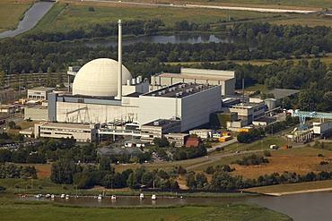 Aerial view, Unterweser Nuclear Power Plant, also known as KKW Kleinensiel and KKW Esenshamm, Lower Saxony, Germany, Europe