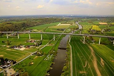 Aerial view, Ruhrtalbruecke bridge, A52, Ruhr river in the Ruhr valley, Muelheim an der Ruhr, Ruhrgebiet region, North Rhine-Westphalia, Germany, Europe