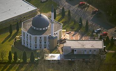 Aerial view, El-Aksa-Moschee mosque, Am Freistuhl, Hassel, Buer, Gelsenkirchen, Ruhrgebiet region, North Rhine-Westphalia, Germany, Europe