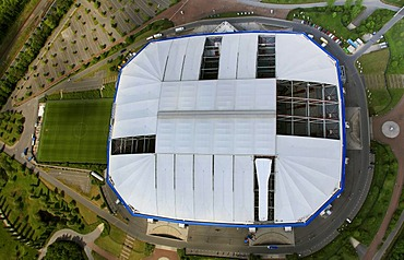 Aerial view, Veltins-Arena football stadium, roof of the Arena AufSchalke stadium being repaired, ripped canvas roof, Gelsenkirchen, Ruhr area, North Rhine-Westphalia, Germany, Europe