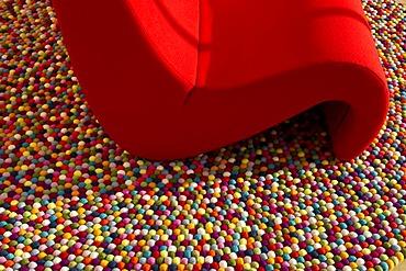 Red chair, Vitra Design Museum, Weil am Rhein, Baden-Wuerttemberg, Germany, Europe