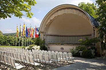 Mussel-domed outdoor stage, Kurpark spa gardens, Baden-Baden, Black Forest, Baden-Wuerttemberg, Germany, Europe