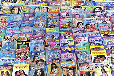 Street sale, newspapers, novels, picture books, Jaipur, Rajasthan, North India, India, South Asia, Asia