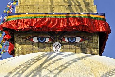 Boudha or Bodnath or Boudhanath Stupa, painted eyes, colorful prayer flags, Tibetan Buddhism, Kathmandu, Kathmandu Valley, UNESCO World Heritage Site, Nepal, Asia