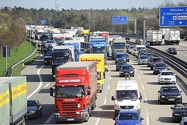 Traffic jam after a truck accident on the A8 Autobahn, motorway, near Leonberg, near the Stuttgart interchange, Stuttgart, Baden-Wuerttemberg, Germany, Europe