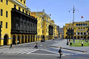 City Hall at the Plaza Mayor or Plaza de Armas, Lima, UNESCO World Heritage Site, Peru, South America