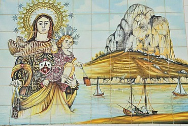 Mosaic wall with the landmark rock Penon de Ifach, port of Calpe, Costa Blanca, Spain, Europe