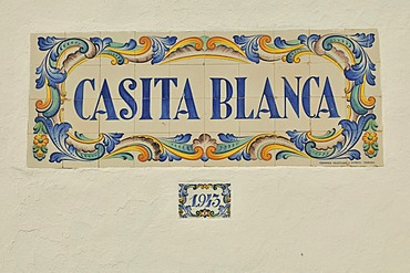 "Tile mosaic ""Casita Blanca"", White House, on a facade, Calpe, Costa Blanca, Spain, Europe"