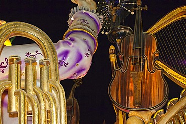 Float with musical instruments at the Gualeguaychu Carnival, Entre Rios Province, Argentina, Latin America