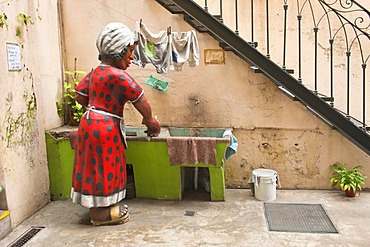 Sculpture of a woman at a sink, El Caminito street, La Boca district, Buenos Aires, Argentina, South America