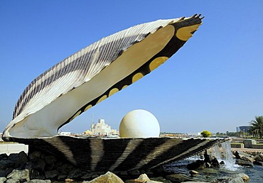 Pearl and Oyster Fountain, Corniche, Doha, Qatar, Middle East