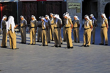 Police officers rehearsing for a parade, Souk Waqif, Doha, Qatar, Middle East