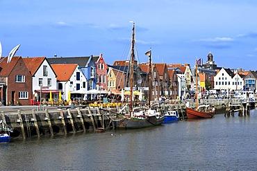 Husum Harbour from the Nordtor or north gate, Husum, North Friesland, Schleswig-Holstein, Germany, Europe, PublicGround