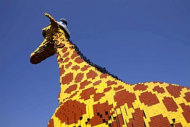 Life-size giraffe made of Lego bricks, Legoland Discovery Center, Innenhafen harbour, Duisburg, Ruhrgebiet area, North Rhine-Westphalia, Germany, Europe