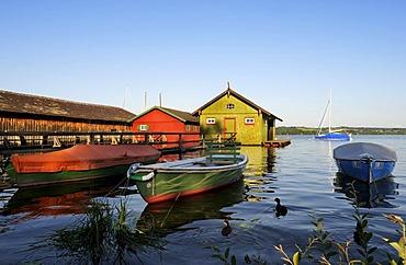 Boat houses near Schondorf, Lake Ammersee, Fuenfseenland area, Upper Bavaria, Bavaria, Germany, Europe