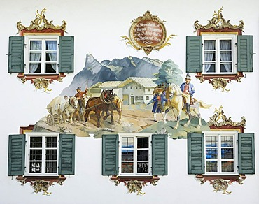 Lueftlmalerei, painting on the facade of Hotel Alte Post depicting the Rossstrasse street between Augsburg and Venice, Oberammergau, Upper Bavaria, Bavaria, Germany, Europe