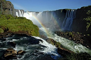 The Iguazu Falls at the border between Argentine and Brazil, Cascades in the devils throat and rainbow