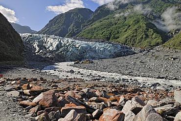 Moraine and glacial stream of Fox Glacier, Westland National Park, South Island, New Zealand