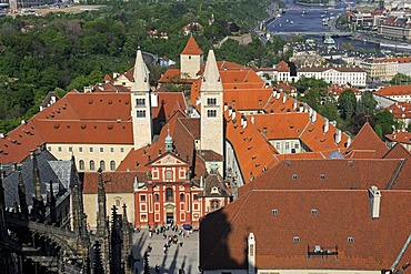 View from the south tower on the Hrad&any castle hill, UNESCO World Heritage Site, Prague, Czech Republic, Europe