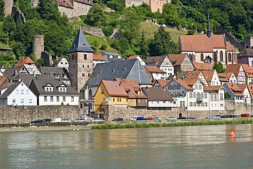 Cityscape with the Market Church, the Carmelite Monastery and the Neckar River, Hirschhorn, Neckartal-Odenwald Nature Reserve, Hesse, Germany, Europe