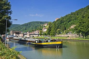 Neckarschleuse lock with a cargo ship, Hirschhorn, Neckartal Odenwald Nature Park, Hesse, Germany, Europe