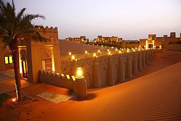 Desert luxury hotel Anantara Qasr Al Sarab, hotel resort built like a desert fort, surrounded by high sand dunes, near the Liwa oasis in the desert Empty Quarter or Rub Al Khali, Abu Dhabi, United Arab Emirates, Middle East
