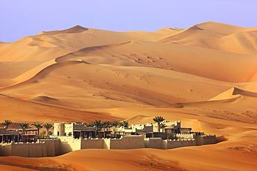 Anantara Qasr Al Sarab luxury desert hotel, built in the style of a kasbah, hotel resort, amidst huge sand dunes, near Liwa Oasis in the Empty Quarter Rub Al Khali sand desert, Abu Dhabi, United Arab Emirates, Middle East