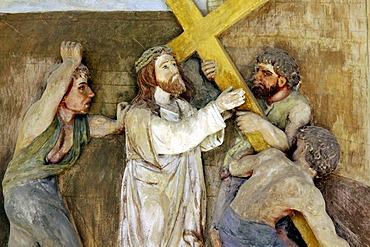Fresco of the Stations of the Cross, portico of the pilgrimage church ofSacro Monte della Santissima Trinita di Ghiffa in Ghiffa on Lake Maggiore, Piedmont, Italy, Europe