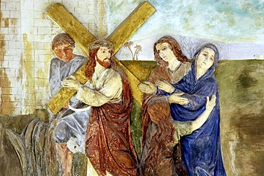 Fresco of the Stations of the Cross, portico of the pilgrimage church ofSacro Monte della Santissima Trinita di Ghiffa in Ghiffa on Lake Maggiore, Piedmont, Italy, Europe