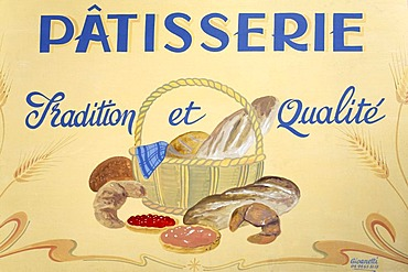 Painted advertising sign of a French patisserie, confectionery, Hyeres-les-Palmiers, Provence-Alpes-Cote d'Azur region, France, Europe