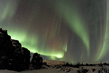 Northern Lights (Aurora borealis) over the canyons created by continental drift, fiingvellir, Iceland, Europe