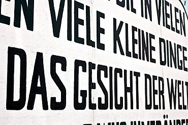 Lettering on remains of the Berlin Wall in the East Side Gallery in Berlin, Germany, Europe