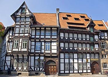 The Von Veltheimsche Haus und the Huneborstelsche Haus buildings on Burgplatz square in the old town of Braunschweig, Lower Saxony, Germany, Europe