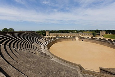 Reconstructed amphitheater, LVR Archaeological Park Xanten, Colonia Ulpia Traiana, Xanten, North Rhine-Westphalia, Germany, Europe
