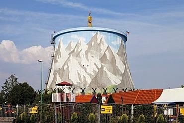 Cooling tower, former fast breeder reactor, Kern-Wasser Wunderland amusement park, Kalkar, Niederrhein, North Rhine-Westphalia, Germany, Europe
