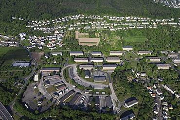 Aerial view, Deines-Bruchmueller Barracks, Lahnstein, Rhineland-Palatinate, Germany, Europe